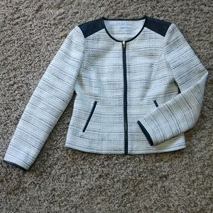 CK Faux Leather Zip Tweed Jacket, Lined